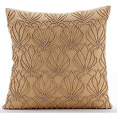 The HomeCentric Handmade Gold Decorative Pillows Cover, Modern Floral Cushion Covers, inch cm) Throw Pillow Covers, Taffeta Square Cushion Covers, Beaded Lotus Pattern - Gold Jardin Gold Decorative Pillows, Gold Throw Pillows, Decorative Pillow Covers, Gold Couch, Art Deco Sofa, Couch Pillow Covers, Cushion Covers, Lotus, Cushions On Sofa