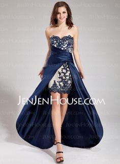 A-Line/Princess Sweetheart Asymmetrical Satin Lace Prom Dress With Ruffle Lace Beading (018019168) - JenJenHouse
