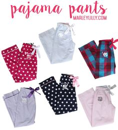 Monogrammed Pajama Pants–Perfect for a pajama party! \\ Marleylilly.com