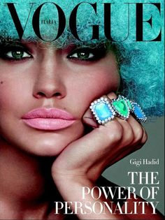 """The Power of personality"" GiGi Hadid tanned and fluorescent  for the cover of Vogue Italia photo: Steven Meisel."