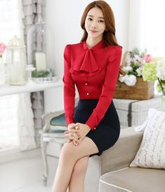 Novelty Red Slim Fashion Professional Business Women Work Suits With 2 Piece Tops And Skirt Ladies Office Skirt Suits Outfits Office Fashion, Work Fashion, Fashion Outfits, Fashion Design, Suits For Women, Clothes For Women, Office Skirt, Sexy Blouse, Business Outfits
