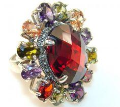 Briliance Garnet Quartz Sterling Silver Ring s. 6 1/2