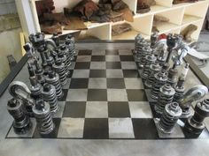 Gear head chess set - Made from car parts - perfect gift for the car buff/chess player