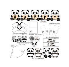 Panda party birthday set Panda birthday cupcake topper Printable panda decor Cupcake wrappers bottle Panda bear party supplies - DIGITAL
