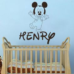 Mickey Mouse Wall Decals Custom Baby Name Sticker Decal Boy Room Nursery DR87 #DecalHouse