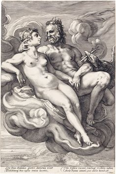 HENDRICK GOLTZIUS Two engravings.  HENDRICK GOLTZIUS Two engravings.  Jupiter and Juno * Neptune and Amphitrite. Both circa 1590. Both approximately 321x216 mm; 12 3/4x8 1/2 inches