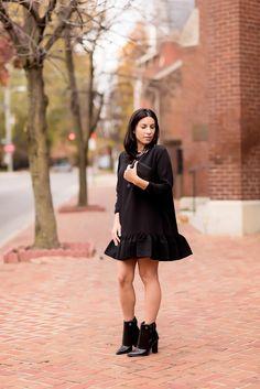 <little black dress> Cynthia Rowley flounce dress Tibi boots