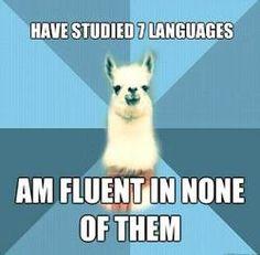 Linguistics: Study seven languages, fluent in none of them.
