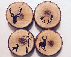 Deer wood round coasters