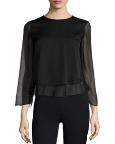 3/4-Sleeve Jewel-Neck Blouse, Black