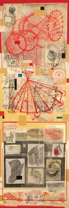 Stephen Talasnik   Surveyor, 2009  Collage and acrylic on prepared wood panel      72 x 24 inches