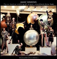 TopShop Window Display - Giant Sized Ornaments and colorful mannequins like the ones we sell at MannequinMadness.com