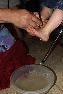 This family celebrates Holy Week by washing each other's feet...so beautiful!! :)