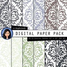 Damask digital paper Winter Damask backgrounds by GraphicsJunkie, $4.80