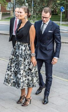 Crown Princess Victoria and Prince Daniel had visited the town of Södertälje during the day but still seemed ready for teh evening's event.