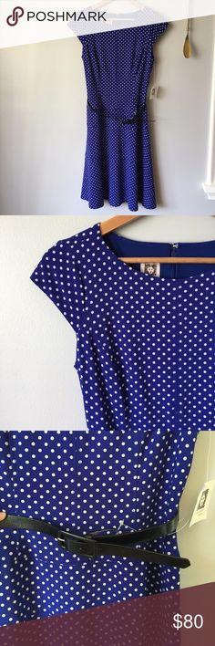 """Anne Klien Blue & White Polka Dot Dress Anne Klien Blue & White Polka Dot Dress//20"""" bust//Hidden zipper in back//40"""" length//Black belt//Materials: 95% polyester, 5% elastane//NWT Anne Klein Dresses Midi"""