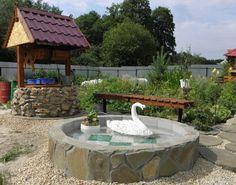 Красивое оформление колодца и бассейн, выложенный плиткой