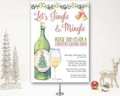 Wine Cocktail Christmas Party Invitation, Jingle and Mingle, Holiday Party Invite, annual open house , Dinner Party Christmas Cocktail Party, Christmas Cocktails, Holiday Parties, Christmas Open House, Christmas Wine, Wine Cocktails, Christmas Party Invitations, Digital Invitations, Party Printables