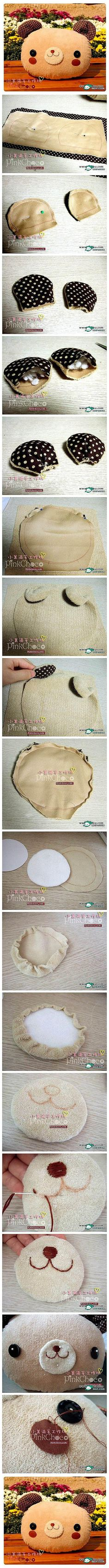 How to make a Teddy Bear Pillow - Wouldn't be very difficult to adjust the shape of the ears or face, etc to make other animals
