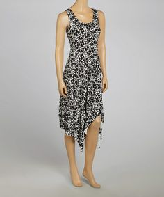 Another great find on #zulily! Black & White Dot Sleeveless Sidetail Dress by Sienna Rose #zulilyfinds