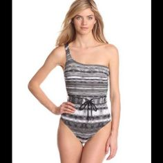 Black Wave One Shoulder Belted One Piece Suit Digital Print swimsuit with one-shoulder silhouette and belted waist . Reversible belt with solid side and printed side.  Built in shelf bra at the front only with molded non-removable pads. Fully lined Calvin Klein Other