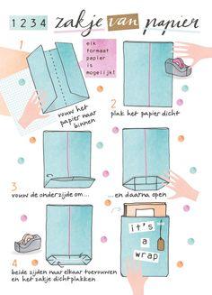 Snel inpakken: papieren cadeauzakken Tutorial how to fold a quick giftbag. Illustrated by Karen Weening Diy Paper Bag, Paper Gifts, Paper Bags, Diy Sac Papier, Diy Sac Cadeau, Diy Gifts, Best Gifts, Furoshiki, Origami Bag