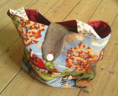 Refashioned cross-stitch bag