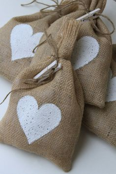 Burlap Gift Bags, Set of Four, White Heart, X Shabby Chic Wedding… Alpillera Ideas, Ideas Bautismo, Candle Bags, Burlap Gift Bags, Burlap Lace, Valentine Decorations, Shabby Chic, Reusable Tote Bags, Paper Crafts
