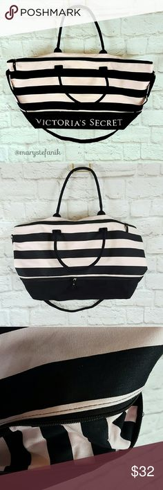 "Victoria's Secret Striped Large Tote Bag Weekender Victoria's Secret Striped Large Tote Bag Weekender in excellent used condition. Like new. Extendable. Adjustable strap. Measures approximately 26"" x 14"".  Please let me know if you have any questions. Happy Poshing! Victoria's Secret Bags Totes"