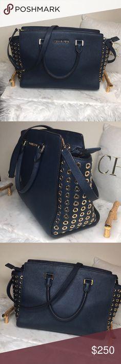 MICHAEL Michael Kors Selma- Navy/Gold Gorgeous bag: Saffiano leather, gold trim, has pen marks on the inside. MICHAEL Michael Kors Bags Satchels
