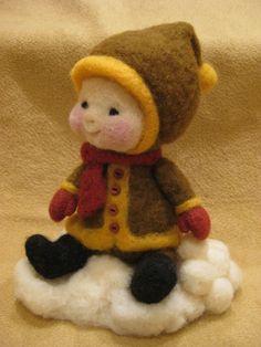 Needle felted wool Winter kid -  (Barb Soet)