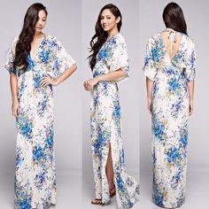 c48f078fbe0c Love Stitch Bohemian V-Neck Vintage Blue Floral Printed Maxi Dress   LoveStitch  Maxi