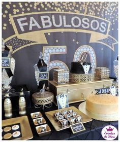 Do it with this amazing Fabulous Black & Gold Birthday Party featured at Kara's Party Ideas. 50th Birthday Cakes For Men, 50th Birthday Party Ideas For Men, Moms 50th Birthday, 50th Birthday Party Decorations, Birthday Party Tables, 50th Party, Birthday Celebration, Cupcakes, Dessert Table