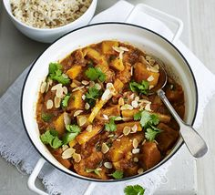 Use hardy root veg in this Asian-inspired spice pot. We used pumpkin, carrots and parsnips, teamed with tomatoes Veg Curry, Beans Curry, Vegetable Curry, Vegetable Garden, Curry Recipes, Veggie Recipes, Vegetarian Recipes, Healthy Recipes, Veggie Meals