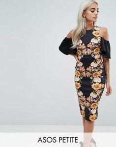 Облегающее платье миди с вырезами на плечах и зеркальным принтом ASOS PETITE