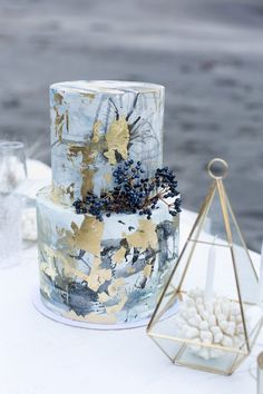 Paint Brush Stroke Watercolor Wedding Cake in Blue with Gold Accents