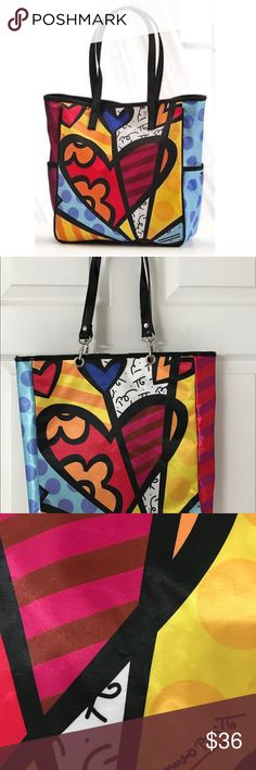 """Romero Britto New Day Tote Romero Britto """" A New Day Tote.""""   Perfect for shopping, beach and carry on for travel. Length is 12"""". Bag depth is 4"""". Material is satin and polyester. There are no flaws or imperfections in this tote. Comes from a smoke free and pet free home. I always include a free gift with each purchase 🌻🌻🌻🌸🌸🌸🌷🌷🌼🌼🌼🌼 Romero Britto Bags Totes"""