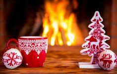Wallpaper Xmas, cup, New Year, decoration, Christmas, Christmas, decoration, fire, fireplace images for desktop, section новый год - download