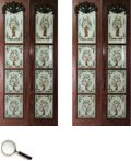 A pair of reverse glass door panels, each with four translucent glass panels within a hardwood frame, each painted with a design depicting a Bird of Paradise in a tree. 84 in L x 38 B in (each pair) Door Panels, Glass Panels, Translucent Glass, Indian Paintings, Glass Door, Hardwood, Paradise, Auction, Fine Art