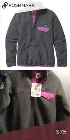 Patagonia Synchilla Snap-T Pullover Patagonia Synchilla Snap-T Pullover women's size XXS Color Nickel with Mock Purple, never worn with tags still attached.          Solid and heather fabrics made of warm, lightweight polyester fleece (solids: 85% recycled; heathers: 80% recycled) Patagonia Sweaters