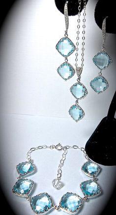 Aquamarine  3 piece set  Earrings Bracelet by QueenMeJewelryLLC, $89.99