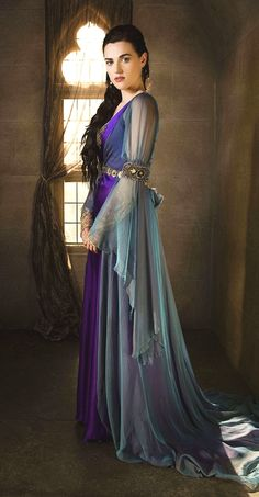 love the light layer over the more soild one. Merlin Morgana costume BBC