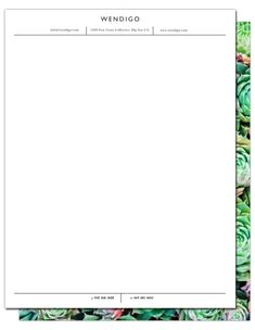 One side of this letterhead features a large arrangement of succulents and the other features subtle horizontal and vertical accents for your essential business information. Letterhead, Just The Way, One Sided, First Names, Save Yourself, Stationary, Succulents, Succulent Plants