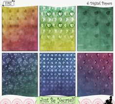 "Grungy Pears Instant Download Printable Art Journal Papers by JustBYourself.  Layers of digitally painted hues of red, green, yellow, blue and purple are featured on these printable art journal papers featuring faded overlays of pear patterns. Perfect for scrapbooking and smash and stash books too! Instant download collection of 6 - 8.5"" x 11"" papers.  (1147) $2.75"
