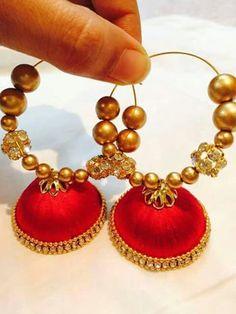 S Silk Thread Jumkas, Silk Thread Earrings, Thread Work, Silk Thread Bangles, Thread Jewellery, Jewelry Crafts, Handmade Jewelry, Paper Quilling Earrings, Earring Tutorial