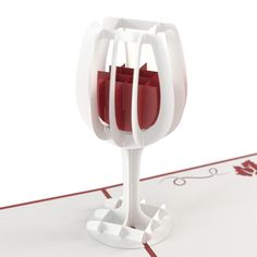 Wine Glass Pop Up Birthday Card entices you with a pop up of a glass of red wine. This card is perfect as a birthday gift or wine tasting invitations.