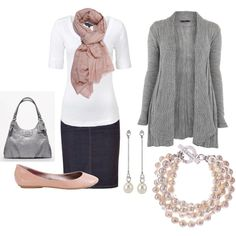 Casual Pink & Pearls, created by rainplain on Polyvore
