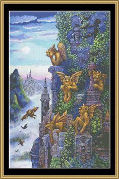Gargoyles Twilight [BB-27] - $16.00 : Mystic Stitch Inc, The fine art of counted cross stitch patterns