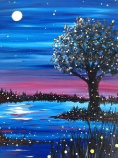 Paint Nite Pittsburgh | Flight of Fireflies at Fox and Hound North Hills Paint Nite Pittsburgh 08/27/2015