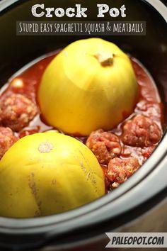 Super Easy Paleo Spaghetti Squash & Meatballs